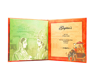 Indian Wedding invitation with images of a Royal Palace