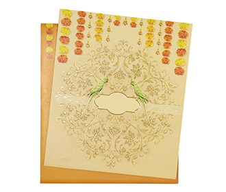 Indian wedding Invitation with marigold flowers and parrots