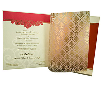 Indian Wedding Invite in Pink with motifs in Golden