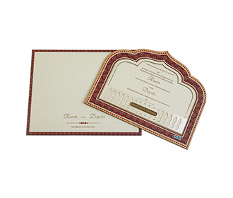 Indian wedding invite with royal archway and balcony design in lasercut -
