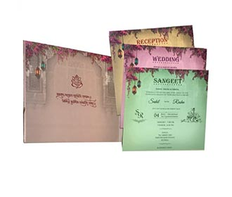 Indian wedding invite with Royal elephants and hanging lamps