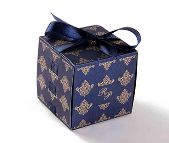 Wedding Party Favor Box in Royal Blue with the Ribbons