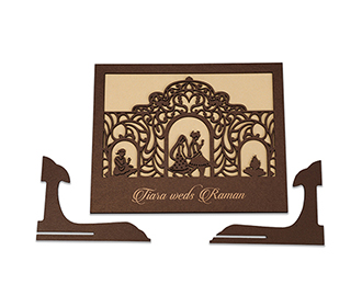 Invitation in laser cut photo frame style with a saat phera design