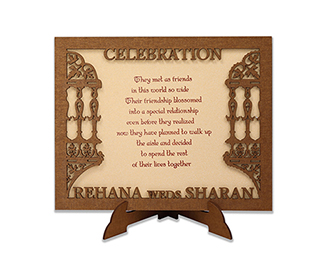 Invitation in laser cut photo frame style with the couple name