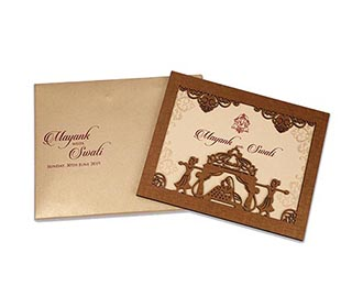 Invitation in laser cut photo frame with a bride & palanquin bearers
