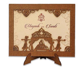 Invitation in laser cut photo frame with a bride & palanquin bearers -