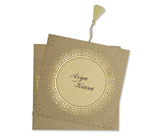 Invitation with a decorated circular frame in biscuit colour