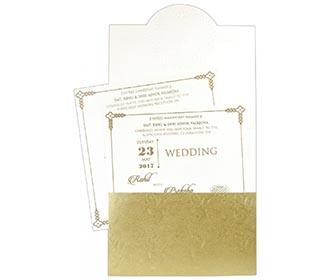 Ivory and Golden Ganesha theme hindu wedding invite