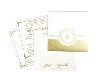 Ivory and Golden Ganesha theme hindu wedding invite -
