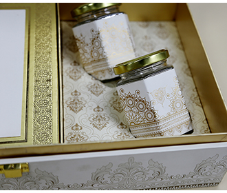 Ivory color designer wedding box invite with sweet jars