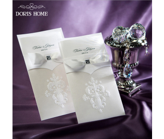 Ivory Floral Pattern with Bow knot Engagement Wedding Card -