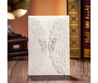 Ivory Wedding Invitations Cards With Butterfly & Laser Cut Flowers