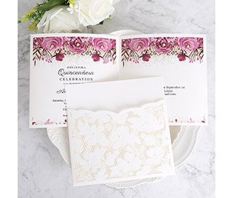 Ivory White Small Pearl Lace Wedding Invitation Cards