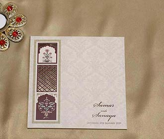 Japiur Jharokha Style Indian Wedding Card in Beige Colour