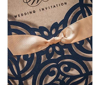 Lace Bowknot Vintage Laser Cut Flowers Wedding Invitation in Blue