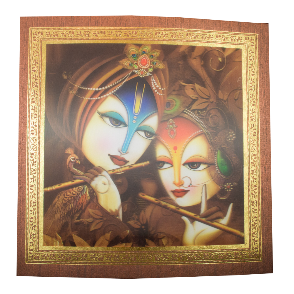 3-D Radha Krishna Wedding card on a Brown textured paper with golden border