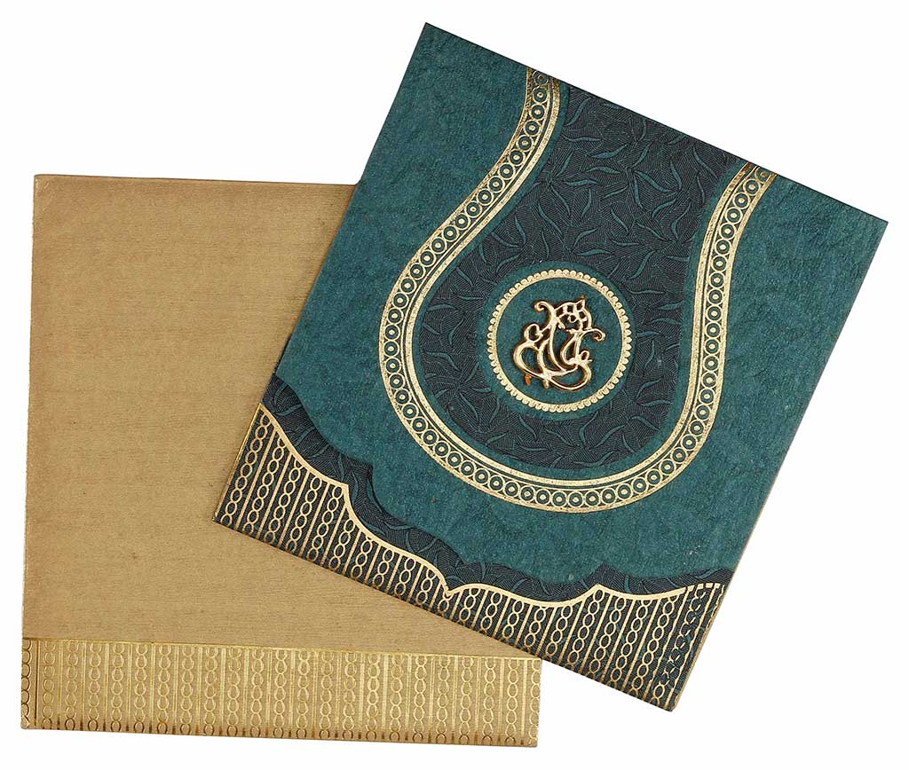 hindu wedding card in spring green and antique golden  wedding, Wedding invitations