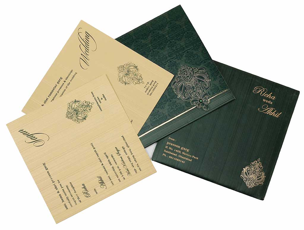 Wedding Invitation In Dark Green And Golden   Wedding Invitations ...