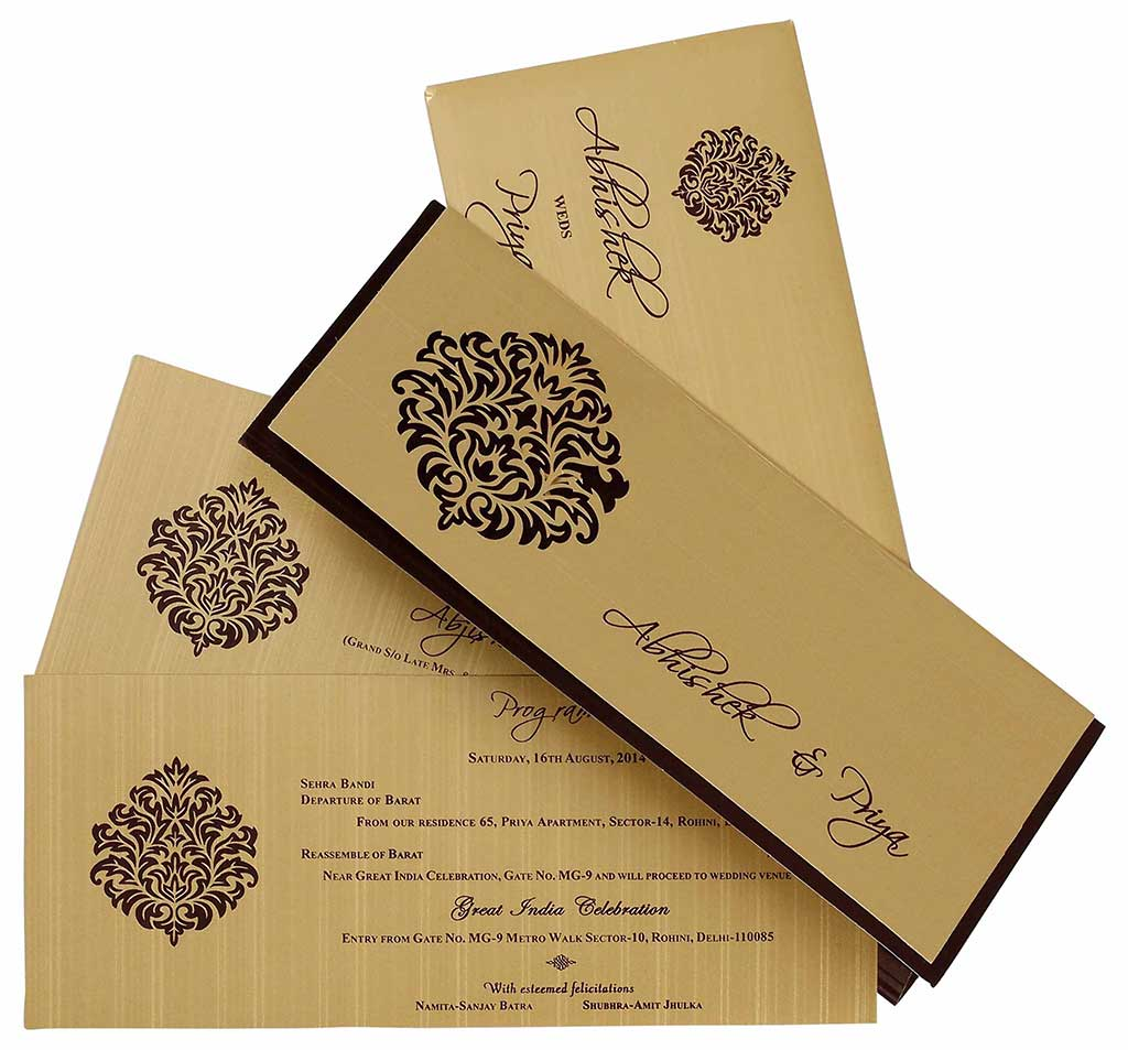 Indian Wedding Card In Brown And Golden With Cutout Design Wedding