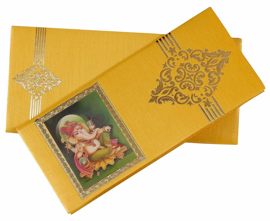 hindu invitation in yellow  golden with 3d ganesha design