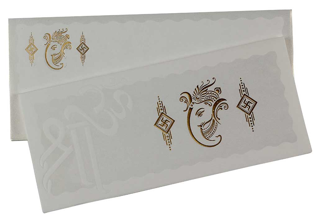 Cream And Golden Hindu Wedding Invitation With Ganesha Symbol