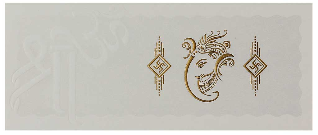 Cream And Golden Hindu Wedding Invitation With Ganesha Symbol