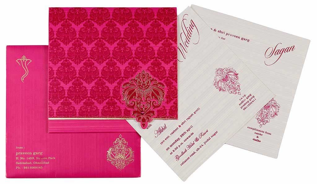 Indian Wedding Card In Magenta Fuchsia Golden Wedding