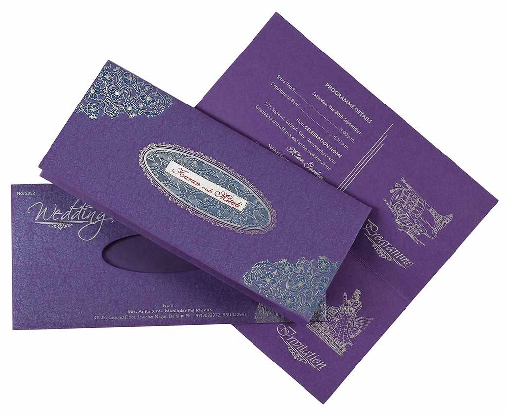 Indian Wedding Card In Purple & Silver Floral Design | Wedding ...
