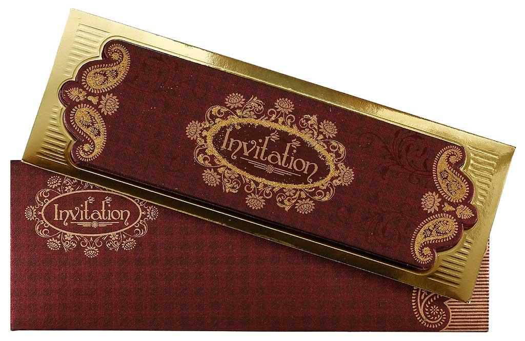 Crimson And Golden Invitation In Four Fold Accordion Style | Wedding ...