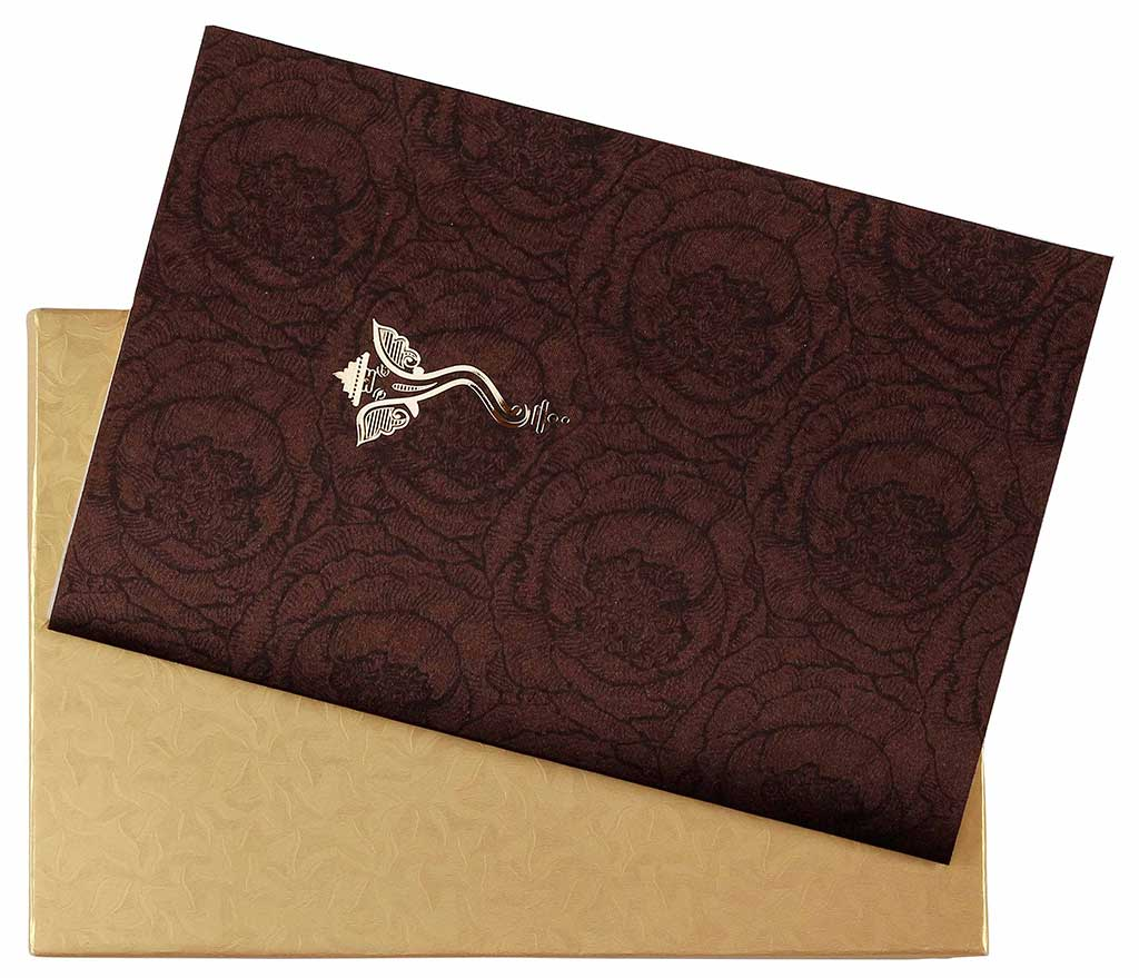 Hindu Satin Wedding Card in Brown and Golden with Ganesha Symbol