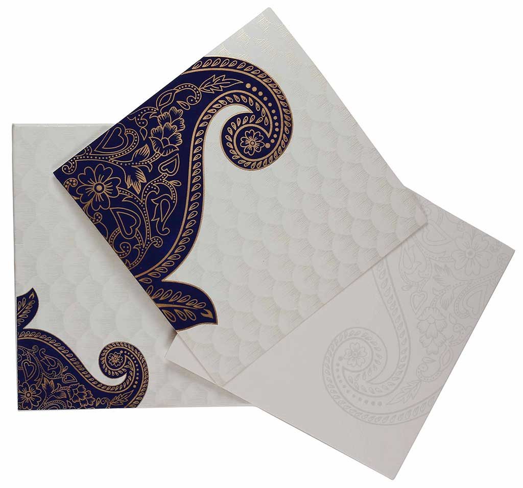 Indian Wedding Card In Cream And Golden With Blue Paisley Design – Designer Wedding Cards Indian