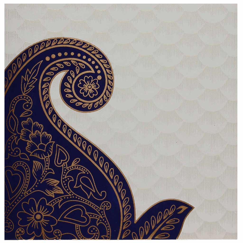 Indian Wedding Card In Cream And Golden With Blue Paisley Design