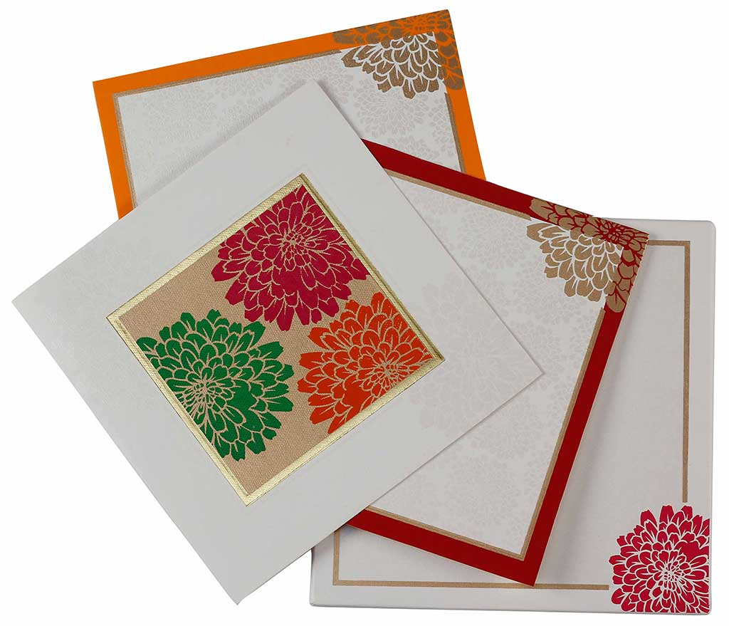 Indian Wedding Invite In Cream & Golden With Multicolor Flowers ...