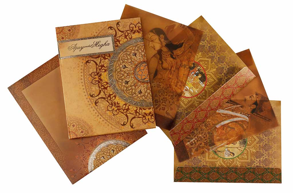 Royal Indian Wedding Card With Traditional Paintings – Indian Traditional Wedding Cards
