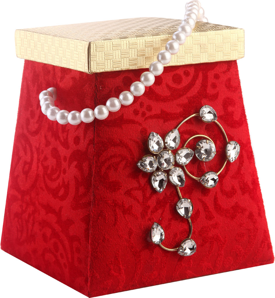 Favor Box in Red and Golden Colour with Floral Pattern