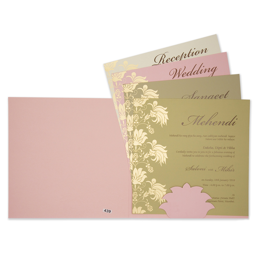 Baby Pink Multifaith Indian Wedding Card With Embossed Fl Design Click Image To Close