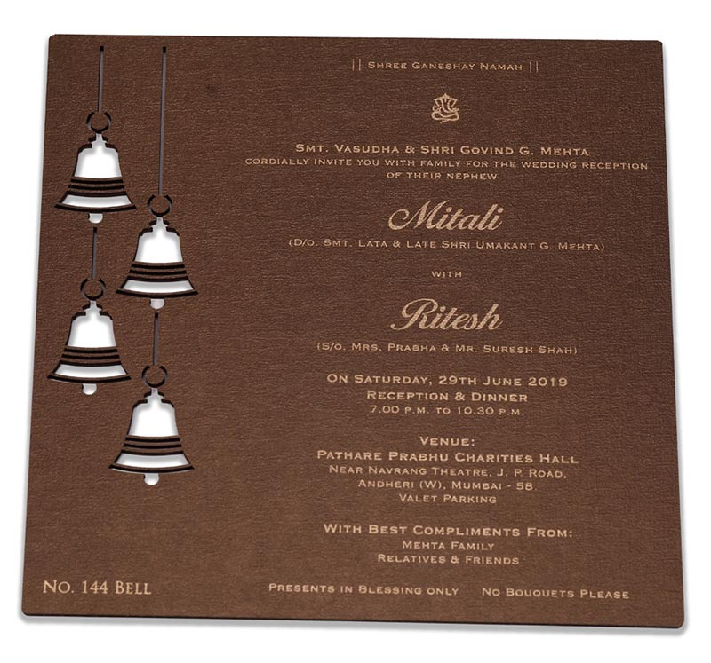 Beautiful laser cut wedding invite with temple bells