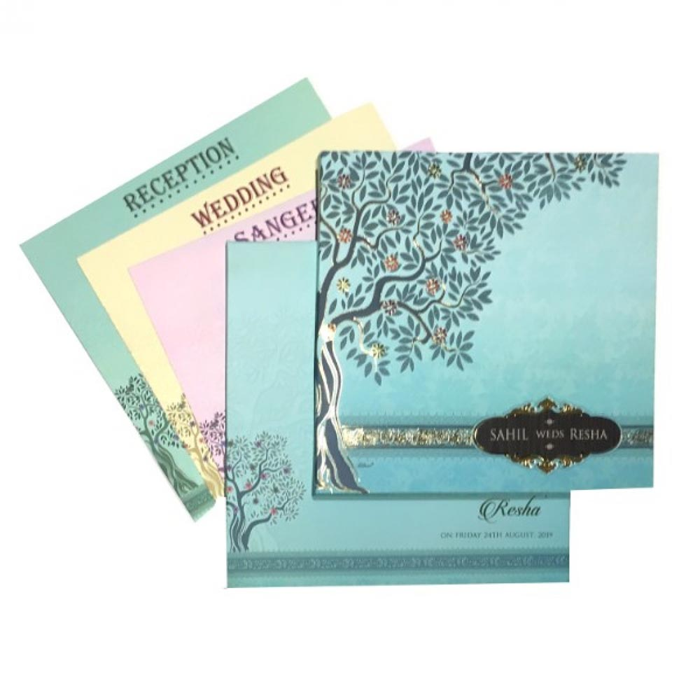 Beautiful wedding invite in pastel colors with tree of life depiction