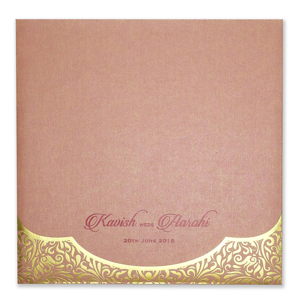 Bengali wedding invitation card in elegant pink & golden colour