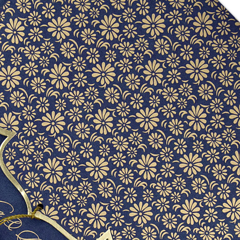 Blue color multifaith Indian wedding card in floral golden pattern - Click Image to Close