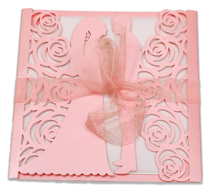 Bride & Groom Laser cut wedding invite in pink colour