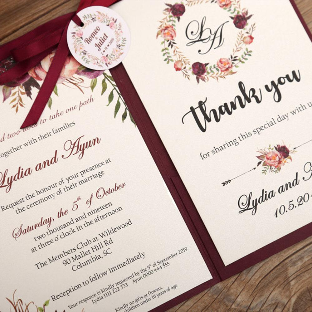 Burgundy color wedding invitation in floral theme - Click Image to Close