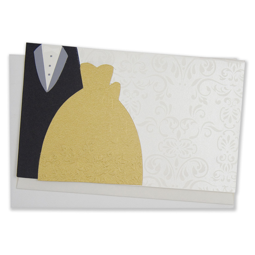 Christian wedding engagement invite with depiction of a couple