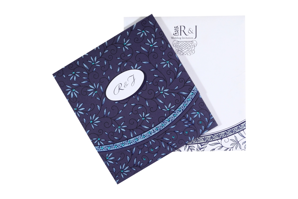 Classic Indian Wedding Cards In Blue White Colour – Classic Indian Wedding Cards