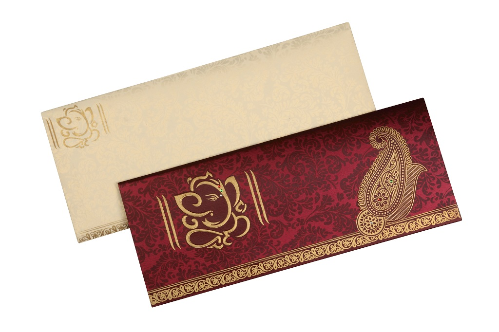 Wedding Card In Royal Crimson Paisley Design