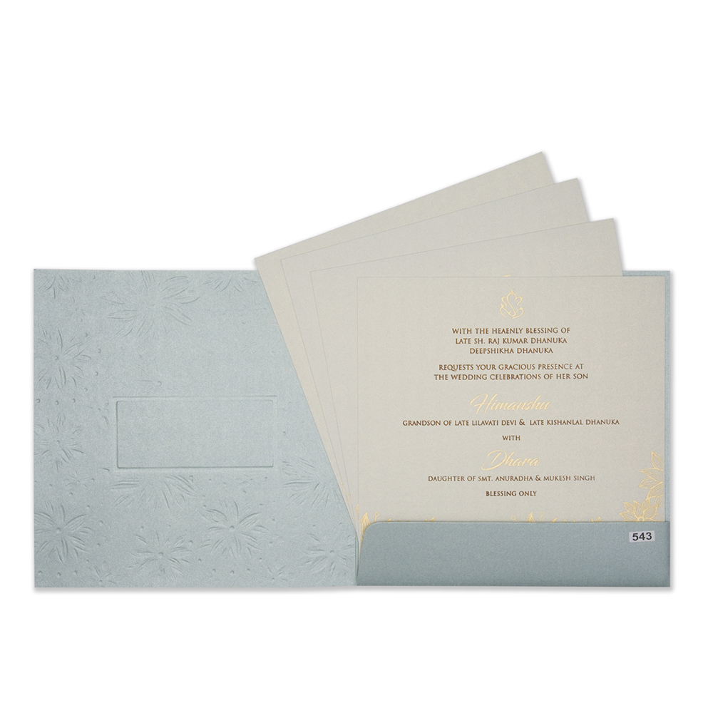 Designer floral wedding invitation in powder blue and teal colours