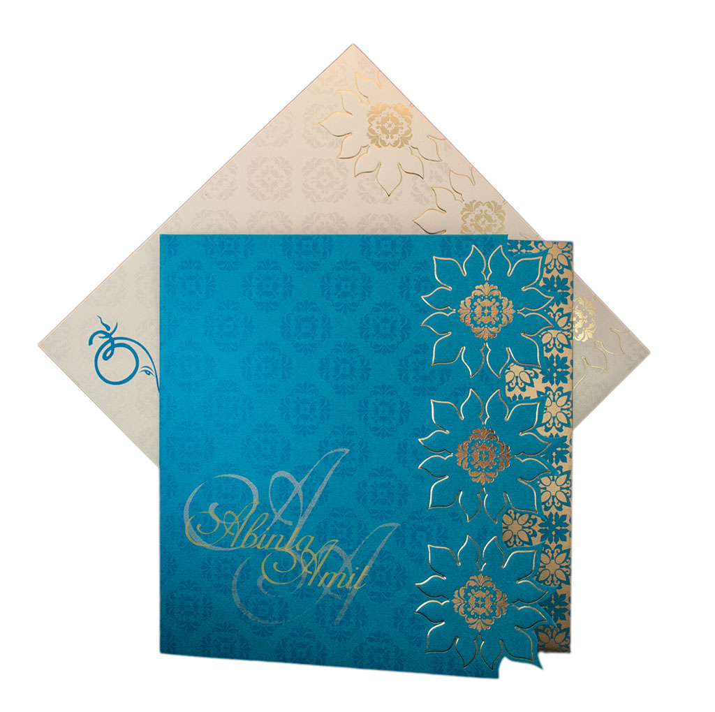 Designer Indian Wedding Card in Blue with Flower Pattern