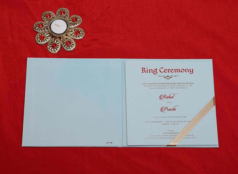 Designer Indian Wedding Card in Light Blue and Dark Green - Click Image to Close