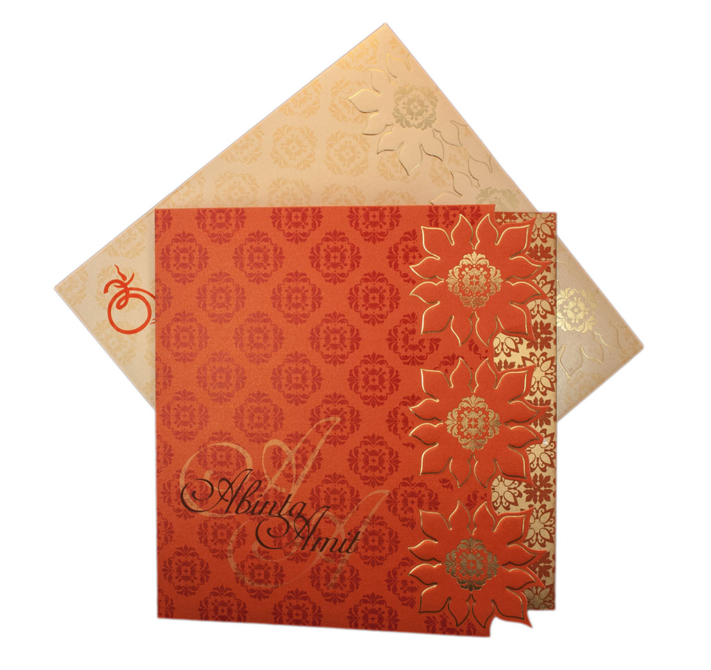 orange indian wedding cards - 28 images - indian wedding invitation ...