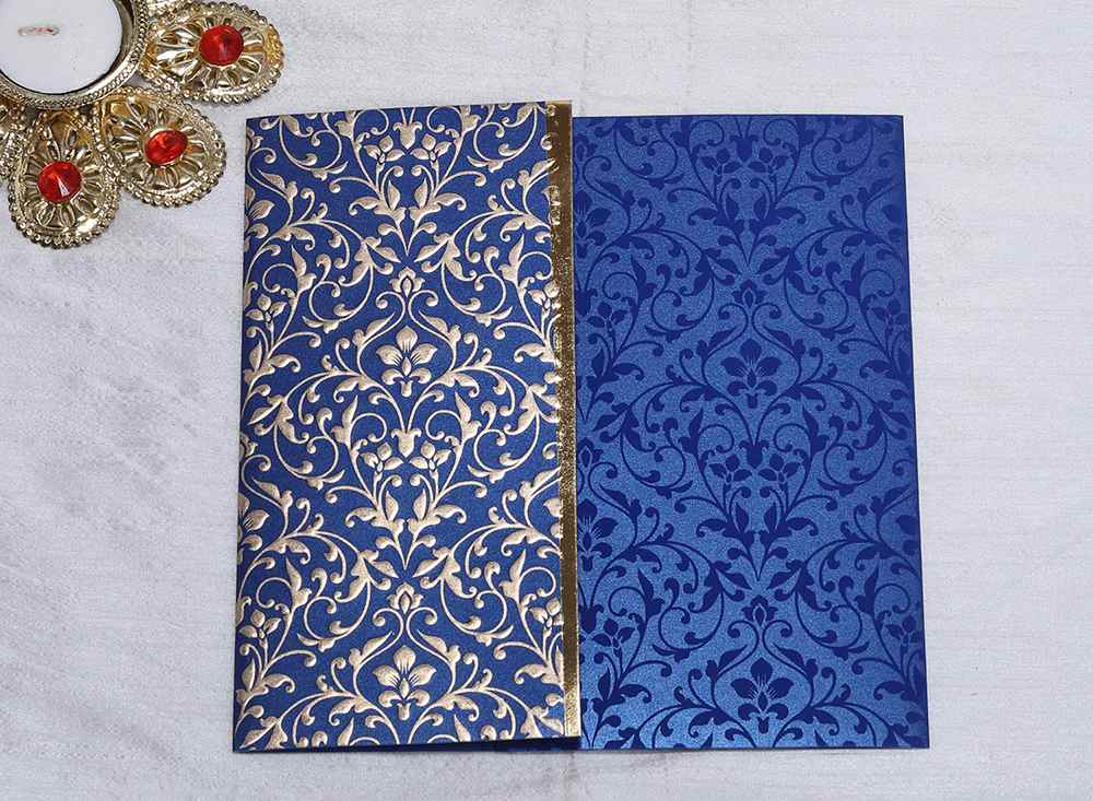Designer Indian wedding invitation in Navy blue and Golden - Click Image to Close